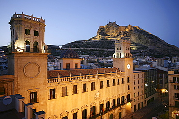 Spain, Alicante : Oldtown, City Hall, Anyuntamiento and Monte Benacantil hill