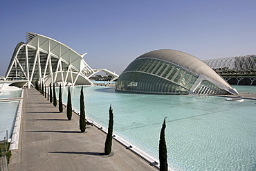 ESP, Spain, Valencia : Ciudad de las Artes Y de las Ciencias, City of arts and sciences. L'Hemisferic und Museo de las Ciencias Principe Filipe