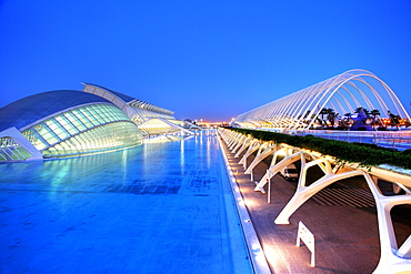ESP, Spain, Valencia : Ciudad de las Artes Y de las Ciencias, City of arts and sciences. L'Hemisferic, Museo de las Ciencias Principe Filipe, L'Umbracle