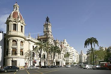 ESP, Spain, Valencia : Plaza Ayuntamiento, Avenida Marques De Sotelo, central city hall square