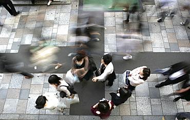 Pedestrians on a sidewalk, Omotesando, Harajuku, Tokyo, Japan, Asia