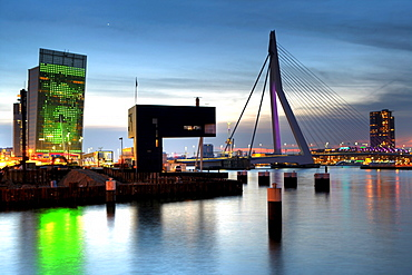Erasmusbrug bridge over the Maas river with Telekom building to the left, Rotterdam, The Netherlands, Europe
