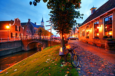 Canals in the village of Sloten, Friesland, The Netherlands, Europe