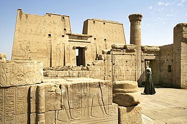 Guard, Temple of Edfu (dedicated to the falcon god Horus), Edfu, Egypt, Africa