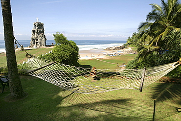 Hammock overlooking the beach at Somatheeram Ayurveda Resort, traditional Ayurvedic medicine spa resort, Trivandrum, Kerala, India, Asia