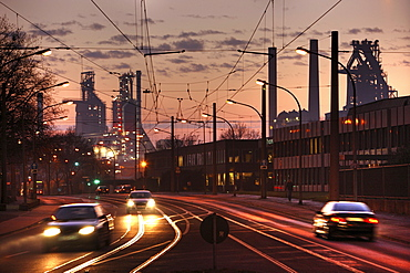 New blast furnace No. 8 producing 5600 tonnes of pig iron daily, ThyssenKrupp Steelworks, Duisburg, North Rhine-Westphalia, Germany, Europe