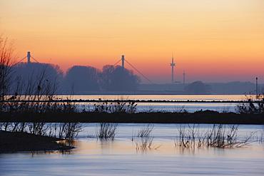 Rhine River at sunset in Duisburg, North Rhine-Westphalia, Germany, Europe