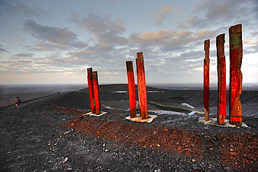 """Totems, "" installation art piece built from over 100 railroad ties by Basque artist Agustin Ibarrola on mining waste heaps near Bottrop, North Rhine-Westphalia, Germany, Europe"