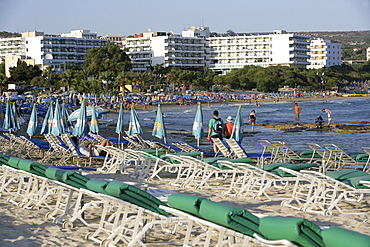 Tourist hotels, beach, Ayia Napa, Cyprus, Europe
