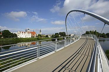 Tiergartenbruecke Bridge crossing the Mulde River, view of Dessau, Saxony-Anhalt, Germany