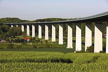 Ruhrtalbruecke, Ruhr valley bridge of the motorway A52 between Essen and Duesseldorf, crossing the Ruhr valley near Muehlheim-Mintard, 1800 meters long, highest section 65 meters, construction completed in 1966, North Rhine-Westphalia, Germany, Europe