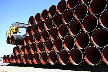 Delivery of steel pipes at the temporary storage facility for the Baltic Sea pipeline, which will transport gas from the Russian town of Wyborg to Greifswald, beginning in 2012, Sassnitz, Ruegen Island, Mecklenburg-Western Pomerania, Germany, Europe