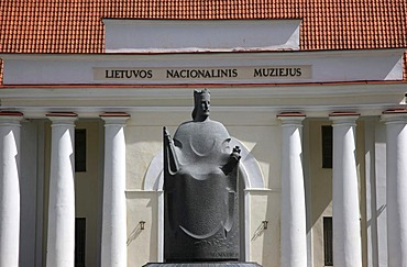 Statue in front of the National Museum in Vilnius, capital of Lithuania, Baltic States, North East Europe