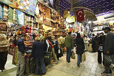 Booths and pedestrians, Grand Bazar or Covered Bazar, covered market for goods of all sorts, Istanbul, Turkey