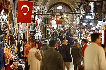People, Grand Bazaar or Covered Bazaar, covered market with goods of all sorts, Istanbul, Turkey