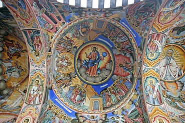 Ceiling cupola painting in orthodox Rila cloister in the Rila mountains, Bulgaria