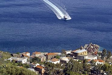 Hydrofoil ahead the port of Stromboli, Liparian Islands, Sicily, province of Messina, Italy