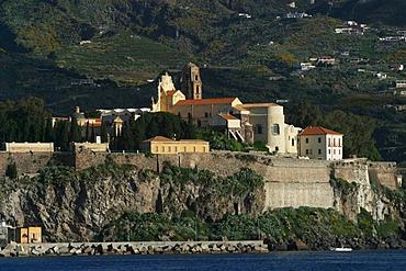 Castle hill with church of Lipari, main village of Lipari, Liparian Islands, Sicily, province of Messina, Italy