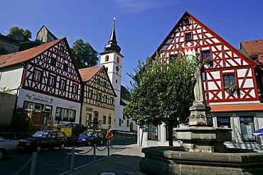 Timbered houses in Pottenstein, Upper Franconia, Bavaria, Germany