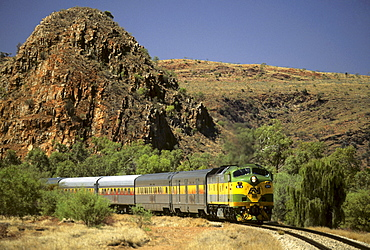 Train of the railway line 'The Ghan' near Alice Springs, Red Centre, Northern Territory, Australia