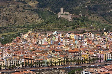 View over the historic city centre of Bosa with fortress, Sardinia, Italy, Europe