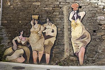 Political mural, Orgosolo, Sardinia, Italy, Europe