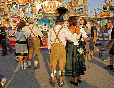 Bavarian traditional costumes at the Oktoberfest in Munich, Bavaria, Germany