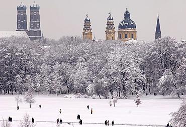 English garden in winter, Munich, Bavaria, Germany