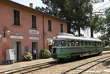 Station in Lanusei with the light railway Trenino Verde, Sardinia, Italy