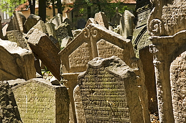Tombstones in the jewish cemetery in Prague, Czech Republic