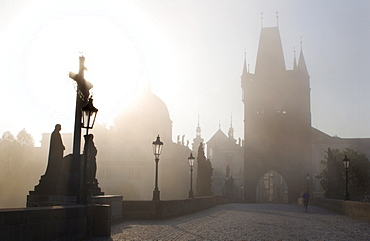 Charles Bridge, fog, Prague, Czech Republic, Europe