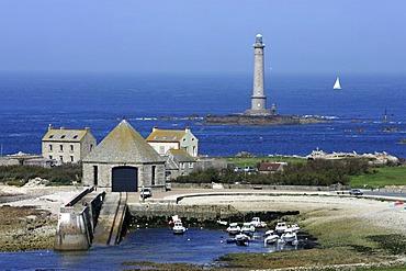 FRA, France, Normandy: Mot western point of Normandy, Cap de la Hague. St.Germain des Vaux. Lighthouse Goury.