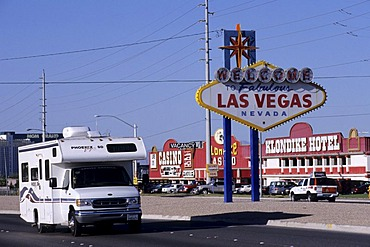 USA, United States of America, Nevada: Las Vegas. Traveliing in a Motorhome, RV, through the west of the US.