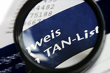 DEU, Germany : TAN numbers, Trans action numbers, security code number for the use of internet banking. Symbolic photo economy
