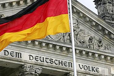 DEU, Germany, Berlin: German parlieament building, The Reichstag, national flag.