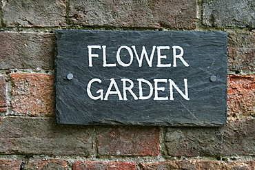 "Sign ""Flower Garden"", The Lost Gardens of Heligan, Pentewan, St. Austell, Cornwall, Great Britain"