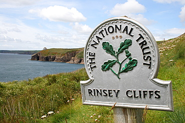 """Sign """" The National Trust"""" at the Rinsey Cliff, Cornwall, UK"""