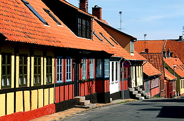Colorful timbered houses in Allinge, Bornholm, Denmark
