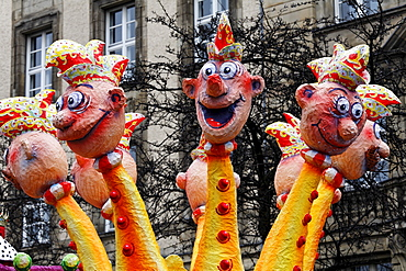 Multi-headed paper-mache snake, Carnival (Mardi Gras) parade in Duesseldorf, North Rhine-Westphalia, Germany, Europe