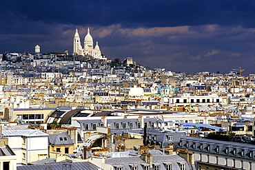Thunderclouds over Paris and the Sacre-Coeur Basilica, Paris, France, Europe