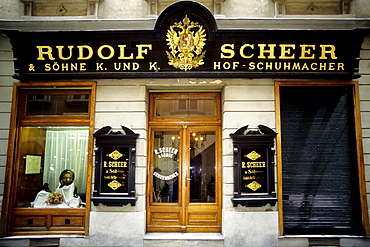 Nice old shop facade, former shoemaker's shop in Vienna, Austria, Europe