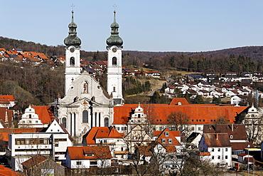 Baroque cathedral in Zwiefalten, Swabian Alb, Baden-Wuerttemberg, Germany, Europe