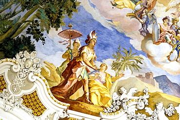 Ceiling fresco, Wessobrunner School, baroque Wallfahrtskirche Steinhausen (pilgrimage church), Steinhausen, Bad Schussenried, Upper Swabia, Baden-Wuerttemberg, Germany, Europe