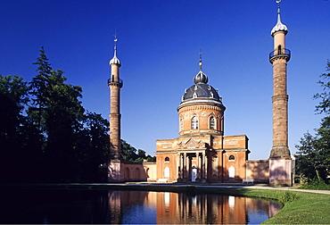 18th-century mosque, Tuerkischer Garten, Turkish Gardens at the Residenzschloss Castle, Schwetzingen, Baden-Wuerttemberg, Germany, Europe