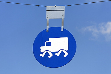 Traffic sign, pictogram, trucks, lorries driving at a walking speed, Netherlands