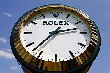 Clock in a Rolex watch design, North Rhine-Westphalia, Germany, Europe