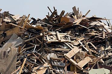 Stockpile of waste timber, timber recycling, Krefeld-Uerdingen, North Rhine-Westphalia, Germany, Europe