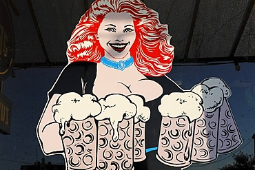 Large-breasted waitress carrying beer jugs, drawn figure on a windowpane, ostalgie tavern Zur Molle, Seebad Bansin, Usedom Island, Mecklenburg-Western Pomerania, Germany, Europe