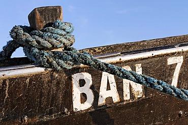 Rope tied to a fishing boat, Bansin resort, Usedom Island, Baltic Sea, Mecklenburg-Western Pomerania, Germany, Europe