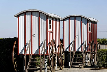 Replicas of historic bathing carts, Bansin seaside resort, Usedom Island, Baltic Sea, Mecklenburg-Western Pomerania, Germany, Europe